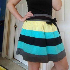 Blue, Grey, Lime, and Black Striped Mini skirt